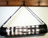SALE Vegan Black Leather Yoga Mat Bag with Black Handpainted Woven Pattern Canvas