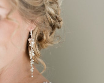 Long Pearl Bridal Earrings, Wedding Earrings, Ivory Pearl Cluster Earrings, Wedding Jewelry