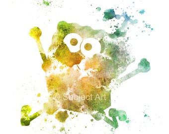 SpongeBob SquarePants ART PRINT illustration, Mixed Media, Home Decor, Nursery