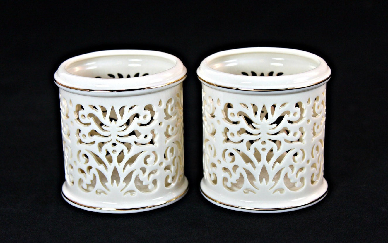 Lenox votive candle holders holder pair
