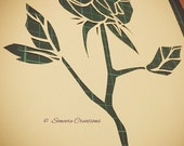 PERSONAL USE - Cut it yourself papercut template 'Valentine Rose, Three Leaves'