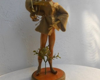 Vintage 60s Ethereal Spirited Imp/Pixie Faux Wood Doll