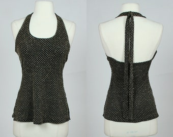 1980's black and gold metallic halter top, Small, US 6