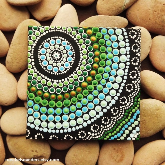 Aboriginal art dot painting small original acrylic painting for Small canvas boards