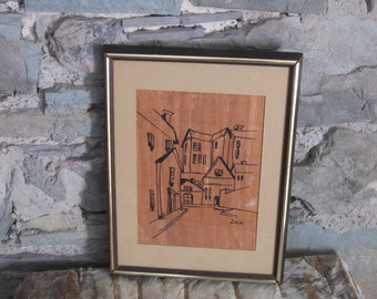Mid Century Framed Ink Drawing Signed Zalk