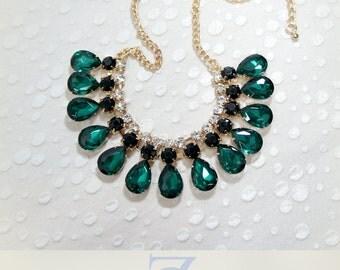 Raindrop Crystal Statement Necklace, Bib Necklace, Bridesmaids Necklace, Fashion Party Necklace
