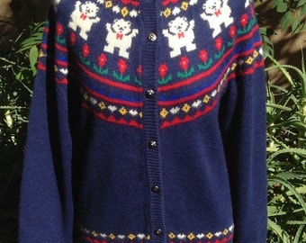 Teddy Bear Winter Wonderland Vintage Cardigan Sweater Sz L