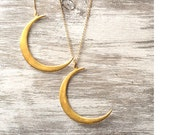 Gold Crescent Moon Necklace Crescent Moon Pendant Gold plated Sterling Silver Moon Jewelry boho chic necklace fall necklace lunar necklace