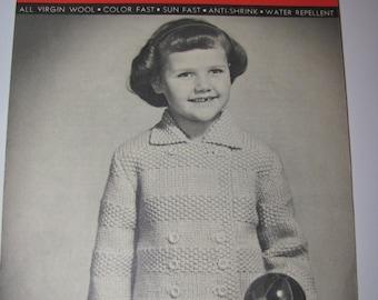 Vintage Knitting Pattern  Blossom Quick Knit, Moss Stitch Sweater Pattern, Girls Sizes 4, 6,8 and 10 Years