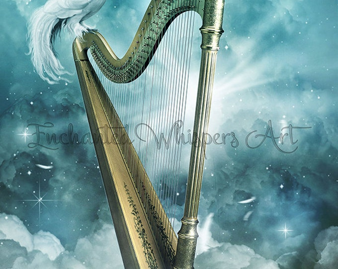 golden fantasy harp and dove art print by Enchanted Whispers