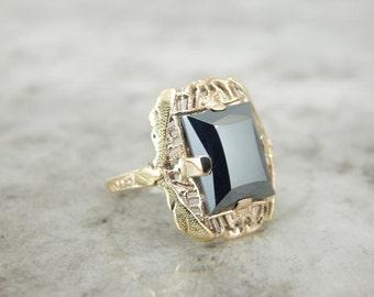 Vintage Gold Filigree And Hematite Gemstone Ring ZE4JH0-P