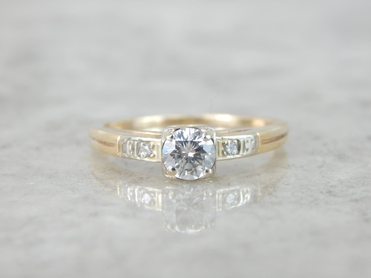 Simple 1940s Vintage Two Tone Diamond Engagement Ring LFE684 P