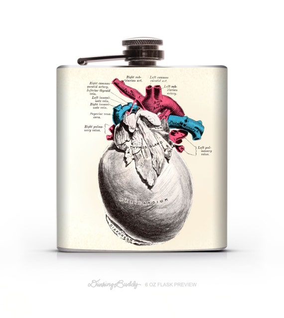 Gray's Anatomy Pericardium Heart - 6oz Hip Flask