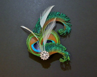 Peacock Feather Hair Clip Ivory Fascinator 1920's Flapper Bridesmaids Hair Accessory Crystal Wedding 'Althea'