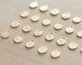 1 pcs of Gold Plated Small Round Initial Charm - 10mm