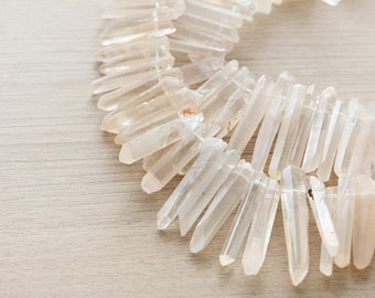 10 pcs of Natural Raw Crystal Quartz Points Beads - Top Drilled