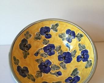 Vintage Handmade Ceramic Flower Bowl, Blue & Yellow Flower Serving Bowl, Fruit Bowl, Display Bowl, Pottery Bowl, Art Bowl