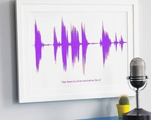 LARGE SOUND WAVE Print. Personalised Your Voice or Song A3 Sentimental Gift for Dad Fathers Day. Soundwave Ultrasound Heart Beat Him Science
