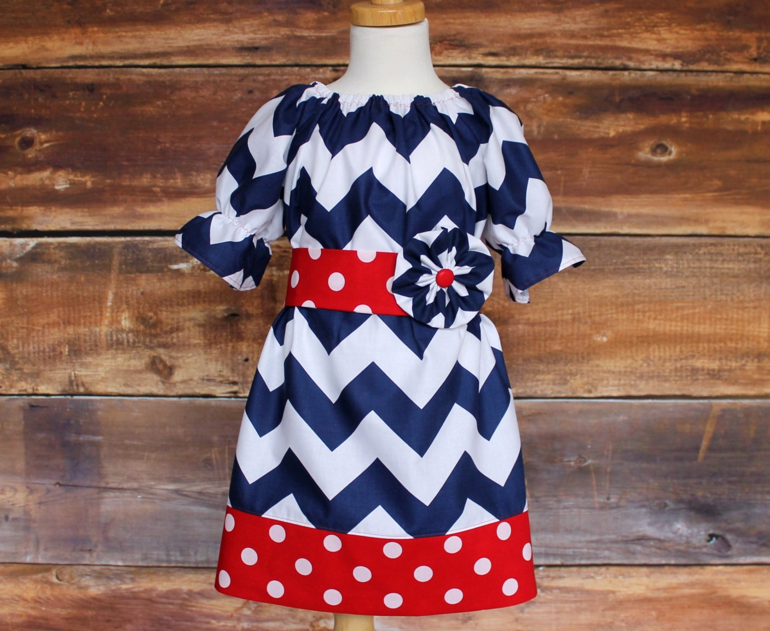 Navy Chevron Peasant Dress Newborn To Child 11 12 Baby Infant