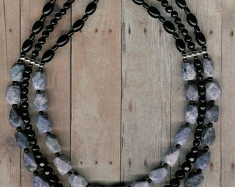 Rocky 3 - Sodalite, Black Agate, Sterling Silver Necklace