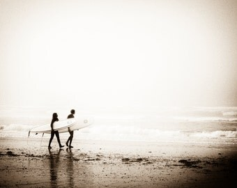 Sepia Photo Fine Art Print Wall Decor. Surfers with Surfboards. Surf Decor. Westport. Pacific Northwest. Gift for surfing enthusiasts.