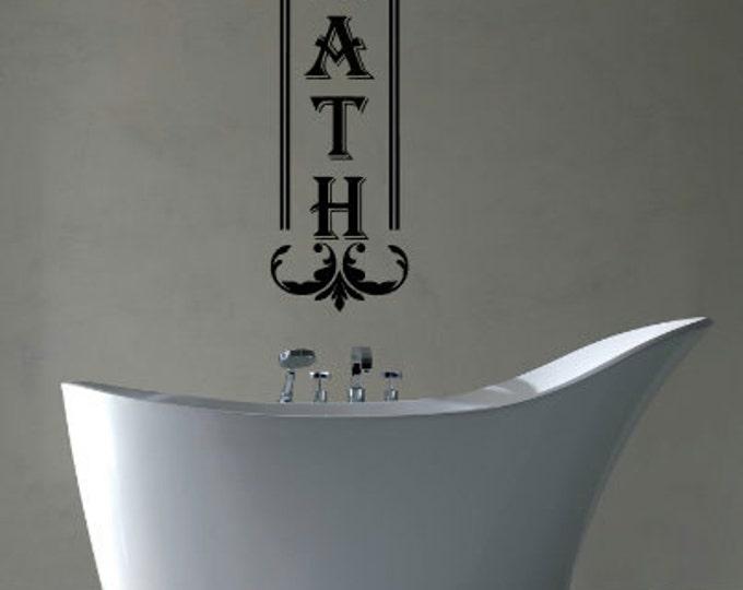 BATH With Scroll - Vinyl Wall Art Decal For Your Bathroom - Vinyl Decal