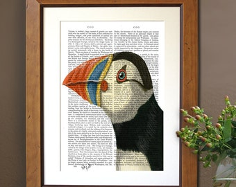 Puffin Portrait, Puffin print sea bird print puffin painting puffin picture nautical print bird painting animal portrait kids room decor
