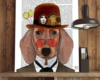 Steampunk Dachshund Doxie Dog Print with Bowler Hat wall art wall decor upcycled recycled dictionary book page art print