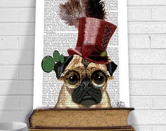 Steampunk Pug Dog With Top Hat SteamPug Mixed Media Art Print Giclee Print Digital Original Illustration wall art wall decor Wall Hanging