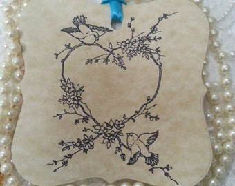 100 WEDDING WISH Tags Love Birds Adorned with Blue Satin Ribbon