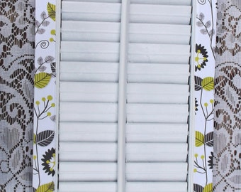 Birds on a Wire Upcycled Vintage Window Shutter *** Green Black White Flower Bow Glitter Shutters Decor Room