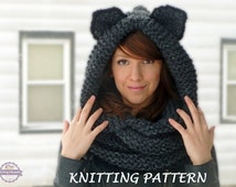 Knit Hat With Animal Ears Pattern : Unique hooded cowl pattern related items Etsy