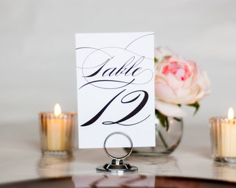 Elegant Script Wedding Table Numbers, Swirl, Swash, Table Number Set, 4x6, 5x7, Tented, Folded