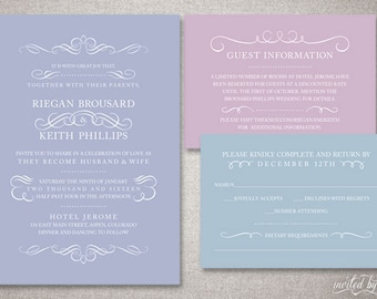 "Classic Flourish ""Reigan"" Wedding Invitations Suite - Typography Colorful Traditional Invitation - DIY Digital Printable or Printed Invite"