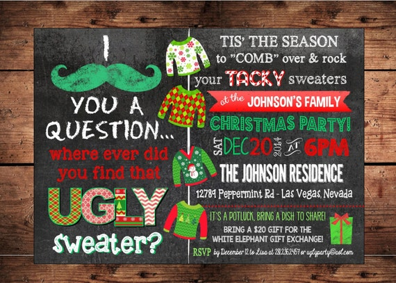 like this item - Ugly Sweater Christmas Party Invitations