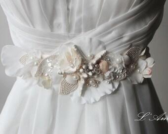 Ornately Decorated Starfish and Seashell Beach Wedding Sash Bridal Belt on Embroidered Lace Flower Underlay