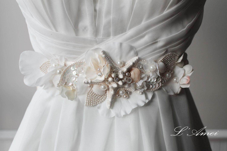 Unique Wedding Dress Sashes Belts: Ornately Decorated Starfish And Seashell Beach Wedding Sash