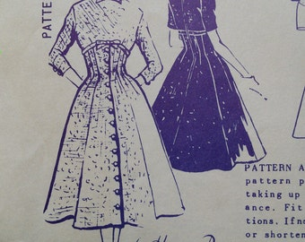 Harvey Berin A-2044 Full Skirt Empire Fitted Dress Spadea Vintage Sewing Pattern 1950s 50s Size 18