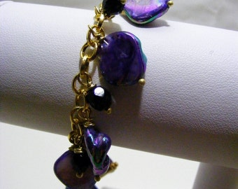 Purple Shell Charm Bracelet