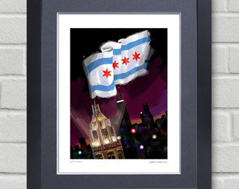 Chicago flag - Painting of Chicago flag at night