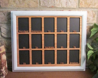 school years frame kindergarten preschool graduation open k 12 personalized white picture frame and oak matte 11x14