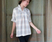 1960s Off White Plaid Henley Shirt 60s Smocked Shirt Vintage Plaid Shirt Cuffed Plaid Shirt Preppy Plaid Shirt Pullover Plaid