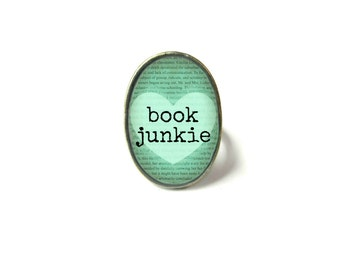 Adjustable Book Junkie Book Ring, Quote Jewelry, Book Page Jewelry, Bookworm Ring, Nerdy Book Jewelry, Book Page Ring, Book Lover Jewelry