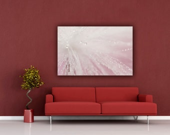 Wispy Photography, Girls Room Horizontal Wall Art, Pink Macro Water Drop Photograph, Wispy White Home Decor, Fine Art Macro Photo Print