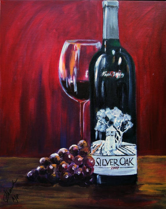 Items similar to wine bottle painting silver oak of napa for Painting of a wine bottle
