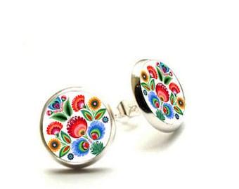 Folk Stud Earrings, Polish Folk Jewelry, folk flowers earrings, Hypoallergenic Earrings