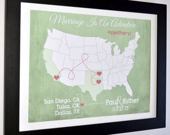 Travel Map Print Personalized Couple Gift Us Map Of Our Travels Love Travels