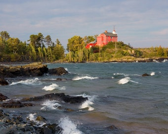 Red lighthouse art photo print, Marquette Lake Michigan photography, waves whitecaps wall decor large paper canvas gift 5x7 8x10 16x20 30x45