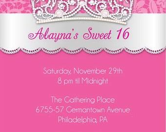 Princess Tiara Invitation - Sweet Sixteen Birthday Invitations
