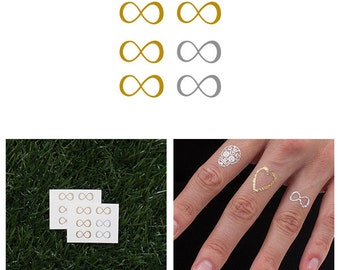 Forever - Metallic Gold/ Silver Temporary Tattoos (Set of 12)